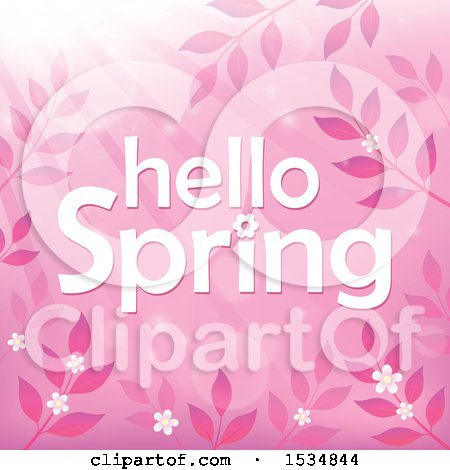 Clipart of a Pink Hello Spring Design - Royalty Free Vector Illustration by visekart
