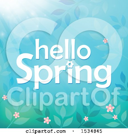 Clipart of a Blue Hello Spring Design - Royalty Free Vector Illustration by visekart
