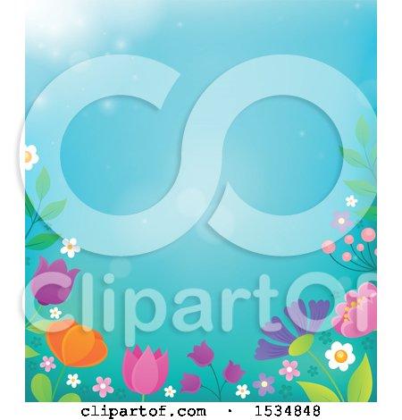 Clipart of a Spring Flower Border - Royalty Free Vector Illustration by visekart
