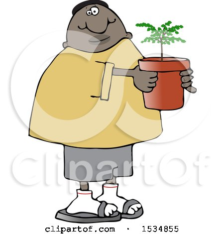 Clipart of a Cartoon Black Man Carrying a Potted Plant or Tree - Royalty Free Vector Illustration by djart