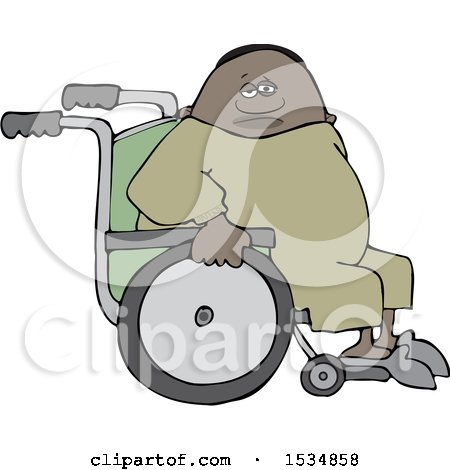 Clipart of a Cartoon Black Man in a Wheelchair - Royalty Free Vector Illustration by djart