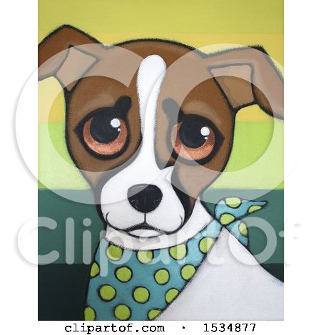 Clipart of a Painting of a Jack Russell Terrier Dog - Royalty Free Illustration by Maria Bell