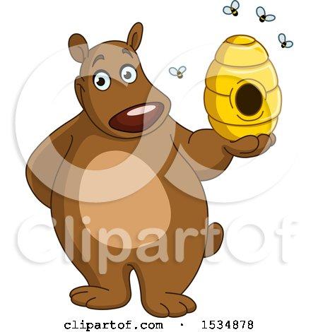 Clipart of a Cartoon Happy Bear Holding a Honey Bee Hive - Royalty Free Vector Illustration by yayayoyo