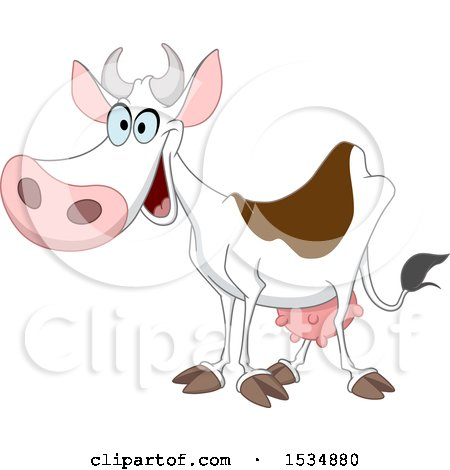 Clipart of a Cartoon Happy Dairy Cow - Royalty Free Vector Illustration by yayayoyo
