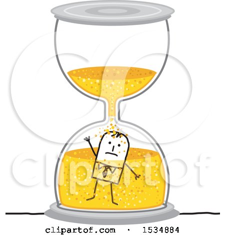 Clipart of a Stick Business Man Drowning in an Hourglass - Royalty Free Vector Illustration by NL shop