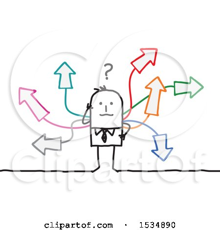 Clipart of a Confused Stick Business Man with Arrows Going in Different Directions - Royalty Free Vector Illustration by NL shop