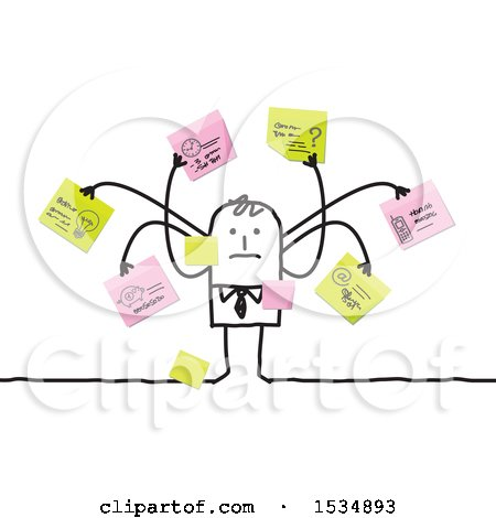 Clipart of a Stick Business Man with Many Memos - Royalty Free Vector Illustration by NL shop