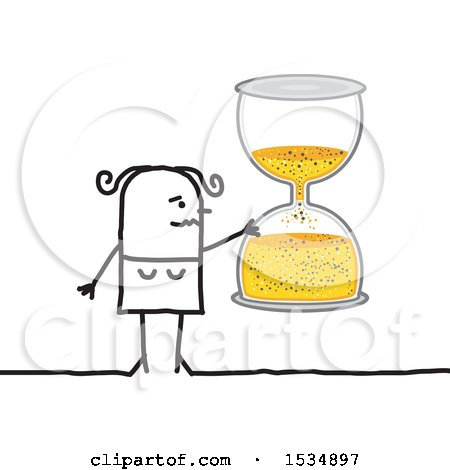 Clipart of a Stick Woman Holding an Hourglass - Royalty Free Vector Illustration by NL shop