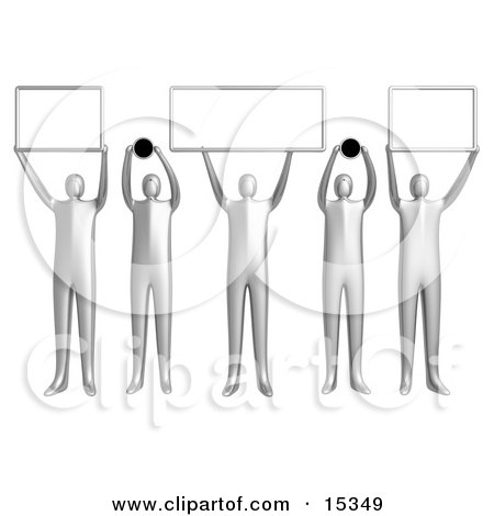 Group Of 5 Golden People Holding Up Blank Boxes And Dots For A Domain Name To Be Entered Clipart Illustration Image by 3poD