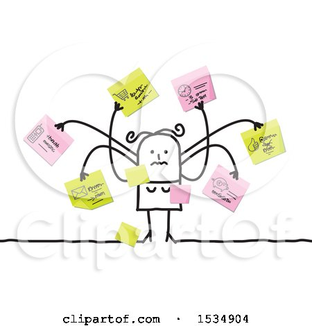 Clipart of a Stick Woman with Many Memos and Reminders - Royalty Free Vector Illustration by NL shop