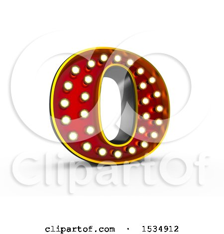 Clipart of a 3d Illuminated Theater Styled Vintage Letter O, on a White Background - Royalty Free Illustration by stockillustrations