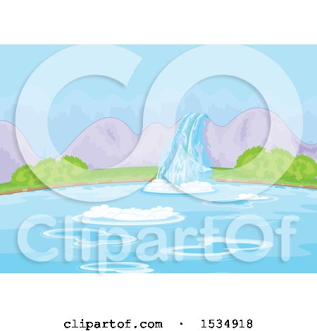 Clipart of a Landscape Background of a Waterfall and Lake - Royalty Free Vector Illustration by Pushkin