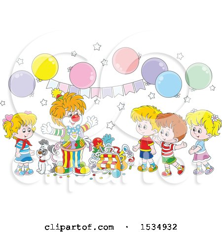 Clipart of a Clown Entertaining Kids at a Birthday Party - Royalty Free Vector Illustration by Alex Bannykh