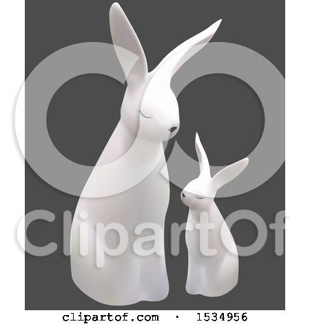 Clipart of a 3d White Bunny Rabbit and Baby, on a Gray Background - Royalty Free Vector Illustration by dero