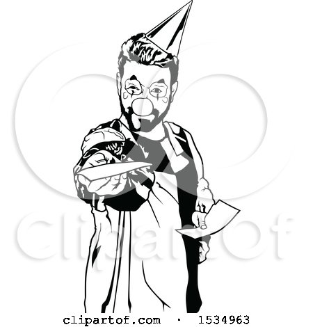 Clipart of a Black and White Clown Holding out an Invitation - Royalty Free Vector Illustration by dero