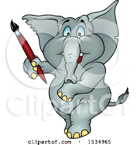 Clipart of a Blue Eyed Elephant Holding a Paintbrush - Royalty Free Vector Illustration by dero