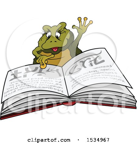 Clipart of a Female Frog Reading a Spell Book - Royalty Free Vector Illustration by dero