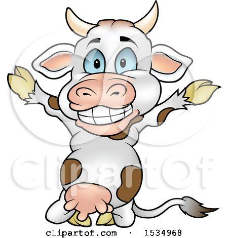 Clipart of a Happy Cow Kneeling and Cheering - Royalty Free Vector Illustration by dero