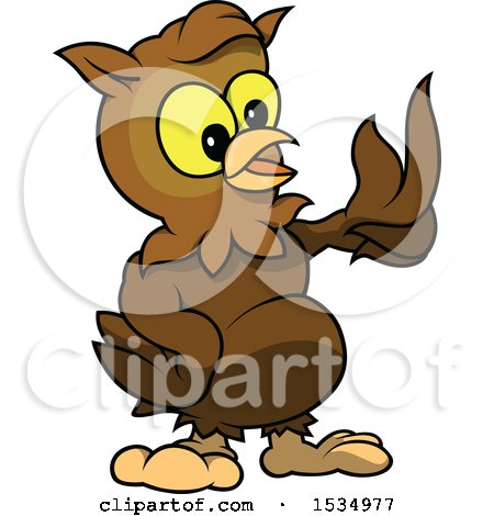 Clipart of a Brown Owl Talking and Presenting - Royalty Free Vector Illustration by dero
