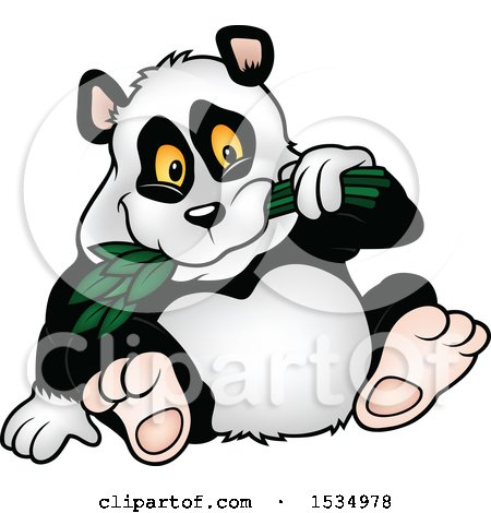 Clipart of a Happy Panda Eating Leaves - Royalty Free Vector Illustration by dero