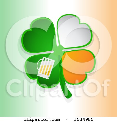 Clipart of a St Patricks Day Four Leaf Shamrock Clover with Irish Flag Themed Petals and Beer, over Gradient - Royalty Free Vector Illustration by elaineitalia