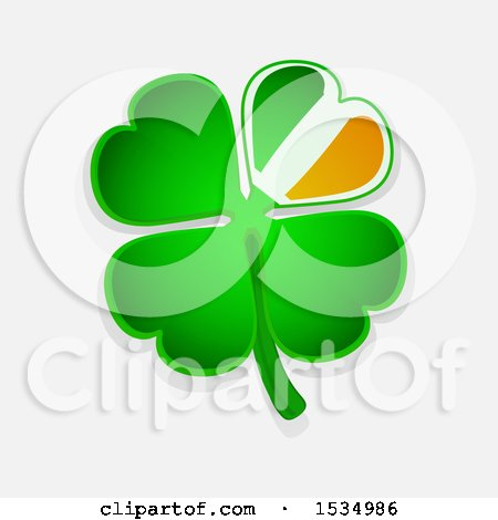 Clipart of a St Patricks Day Four Leaf Shamrock Clover with an Irish Flag Themed Petal over a Shaded Background - Royalty Free Vector Illustration by elaineitalia