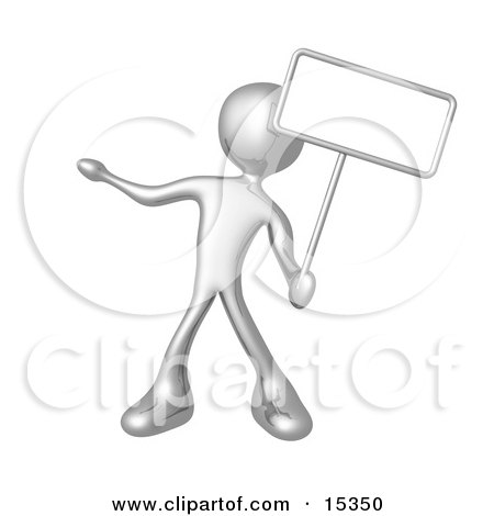 Silver Person Standing And Holding Up A Blank Sign For An Advertisement Clipart Illustration Image by 3poD