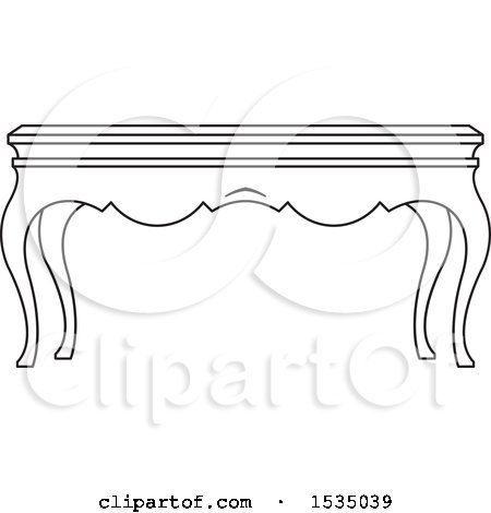 Clipart of a Black and White Coffee Table with Cabriole Legs - Royalty Free Vector Illustration by Lal Perera