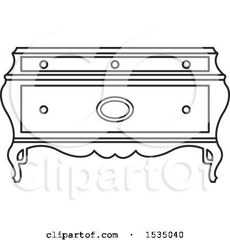 Clipart of a Black and White Box or Table with Cabriole Legs - Royalty Free Vector Illustration by Lal Perera