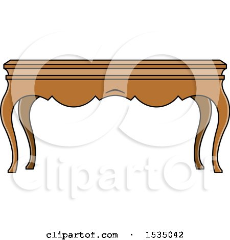 Clipart of a Coffee Table with Cabriole Legs - Royalty Free Vector Illustration by Lal Perera