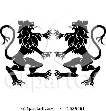 Clipart of Black and White Rampant Lions - Royalty Free Vector Illustration by Lal Perera