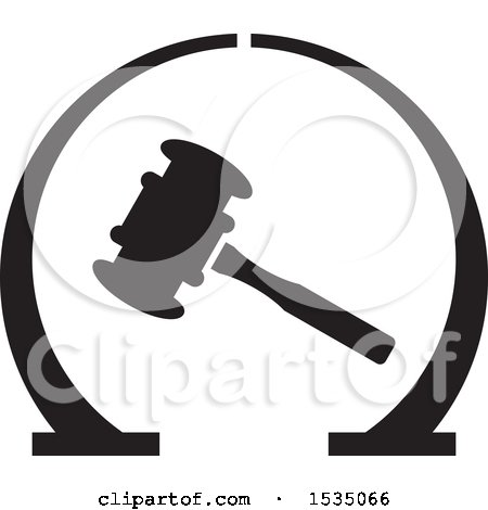 Clipart of a Banging Gavel in Black Arches - Royalty Free Vector Illustration by Lal Perera