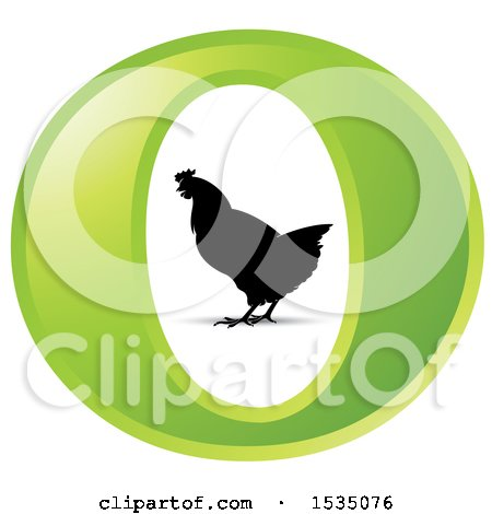 Clipart of a Silhouetted Chicken in a Green Letter O - Royalty Free Vector Illustration by Lal Perera