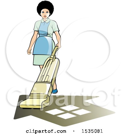 Clipart of a Housekeeper Using a Vacuum or Floor Polisher over a Home Shadow - Royalty Free Vector Illustration by Lal Perera