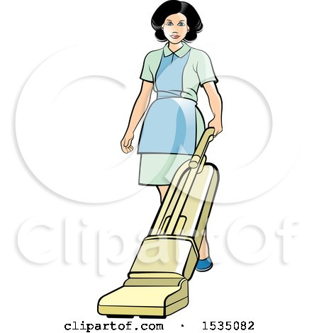 Clipart of a Housekeeper Using a Vacuum or Floor Polisher - Royalty Free Vector Illustration by Lal Perera