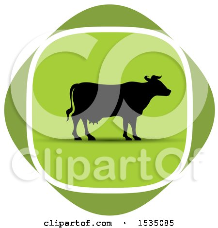 Clipart of a Dairy Cow in a Green Diamond - Royalty Free Vector Illustration by Lal Perera