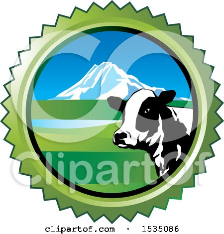 Clipart of a Dairy Cow and Mountain in a Round Frame - Royalty Free Vector Illustration by Lal Perera