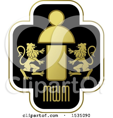 Clipart of a Lion Crest with Mwm Letters - Royalty Free Vector Illustration by Lal Perera
