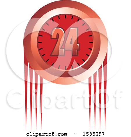 Clipart of a Red 24 Hour Clock Design - Royalty Free Vector Illustration by Lal Perera