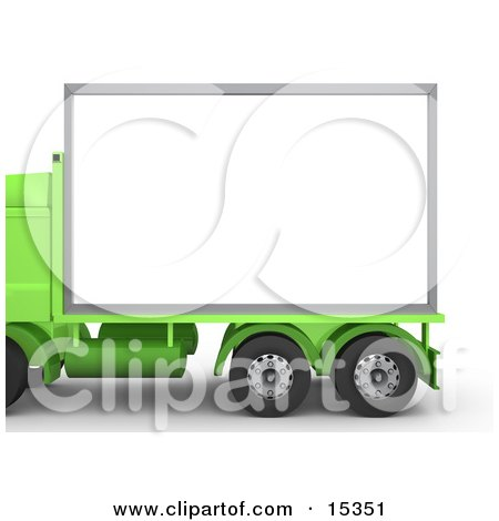 Green Diesel Big Rig Truck With A Blank White Billboard, Ready For An Advertisement Clipart Illustration Image by 3poD