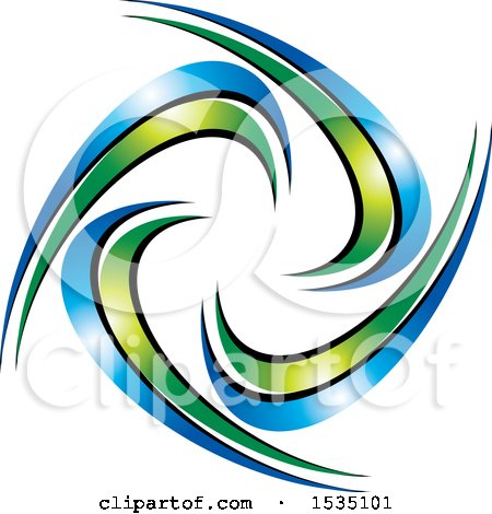 Clipart of a Design with Green and Blue Swooshes - Royalty Free Vector Illustration by Lal Perera