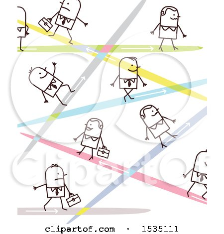 Clipart of a Stick Business People with Lasers or Different Paths - Royalty Free Vector Illustration by NL shop