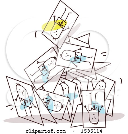 Clipart of Stick Business Men on a Collapsing Pyramid of Cards - Royalty Free Vector Illustration by NL shop