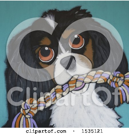 Clipart of a Painting of a Dog with a Rope Toy - Royalty Free Illustration by Maria Bell