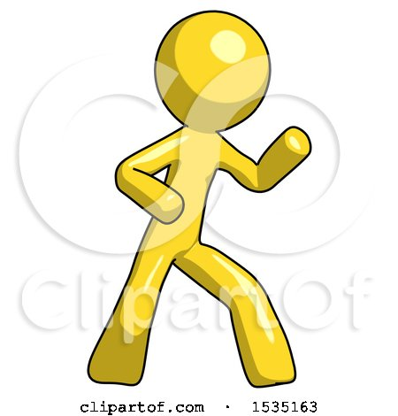 Yellow Design Mascot Man Martial Arts Defense Pose Right by Leo Blanchette