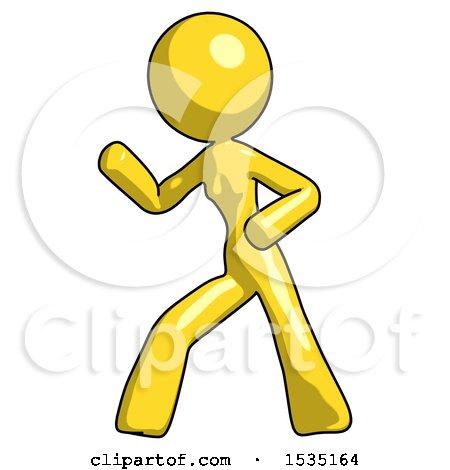 Yellow Design Mascot Woman Martial Arts Defense Pose Left by Leo Blanchette