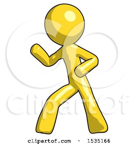 Yellow Design Mascot Man Martial Arts Defense Pose Left by Leo Blanchette