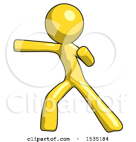 Yellow Design Mascot Man Martial Arts Punch Left by Leo Blanchette