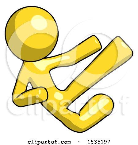 Yellow Design Mascot Man Flying Ninja Kick Right by Leo Blanchette