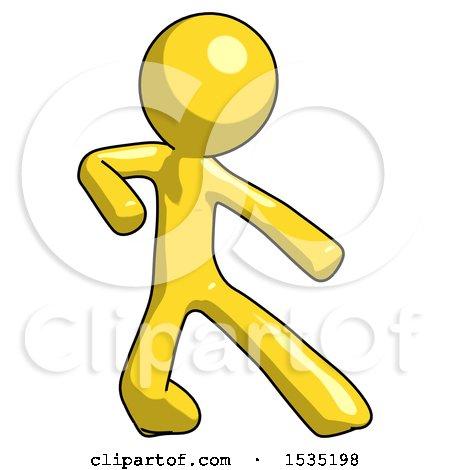 Yellow Design Mascot Man Karate Defense Pose Right by Leo Blanchette